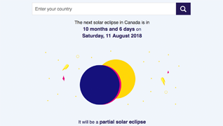 user interface to search for a country and display the next soloar eclipse date for that country