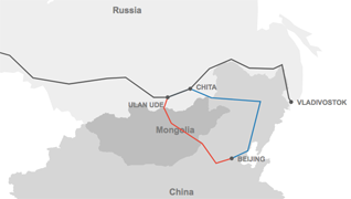 A map demonstrating the routes of the the Trans-Siberian, Trans-Mongolian and Trans-Manchurian railways.